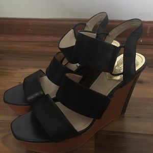 Vince Camuto navy blue wedge